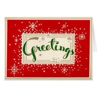 Tarjeta de Navidad retra de los saludos de la