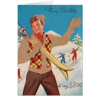 Tarjeta de Navidad retra del esquí para el hijo