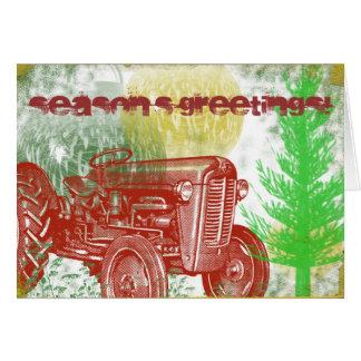 Tarjeta de Navidad retra del tractor