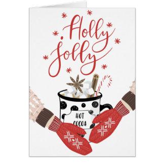 Tarjeta de Navidad roja alegre del acebo