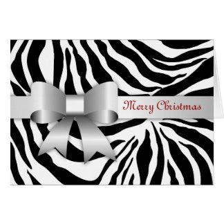 tarjeta de Navidad roja de la foto de la cebra