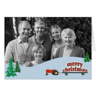 Tarjeta de Navidad roja de la foto del tractor