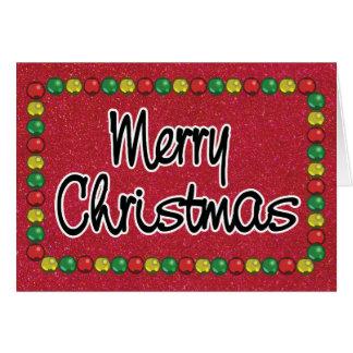 Tarjeta de Navidad roja de la gota del purpurina