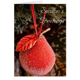 Tarjeta de Navidad roja de la pera