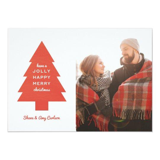 Tarjeta de Navidad roja del árbol de navidad