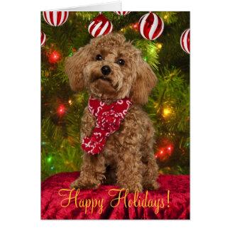 Tarjeta de Navidad roja del caniche