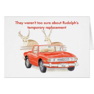 Tarjeta de Navidad roja del macho de Triumph