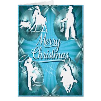 Tarjeta de Navidad Roping de la vaquera occidental