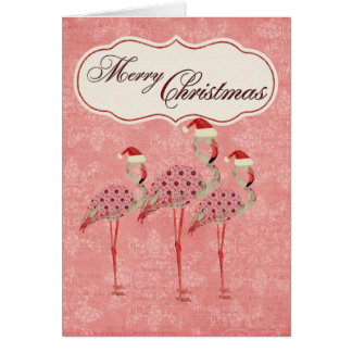 Tarjeta de Navidad rosada de los flamencos