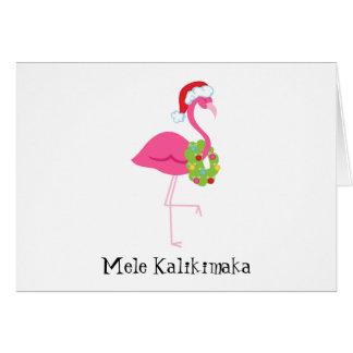 Tarjeta de Navidad rosada del flamenco de Mele