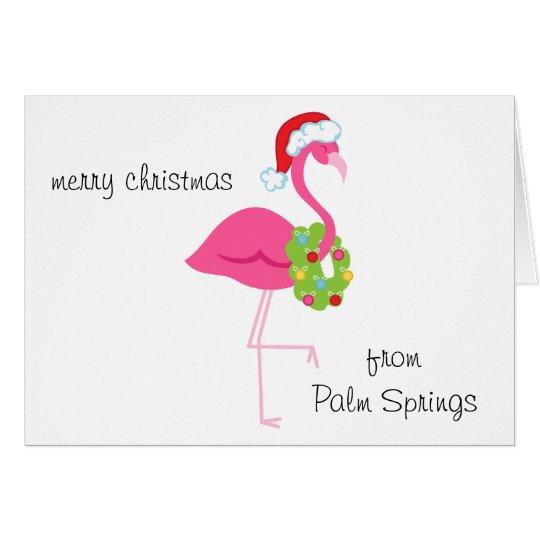 Tarjeta de Navidad rosada personalizada de Santa