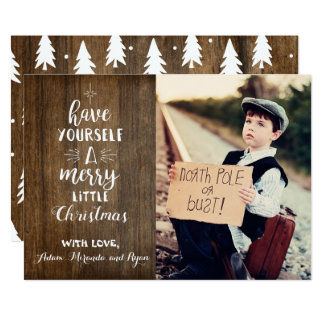 Tarjeta de Navidad rústica con la foto