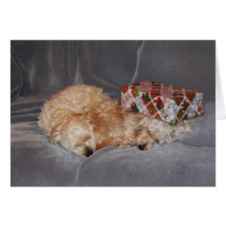 Tarjeta de Navidad Snuggling del perrito
