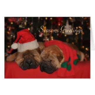Tarjeta de Navidad soñolienta de Shar Pei