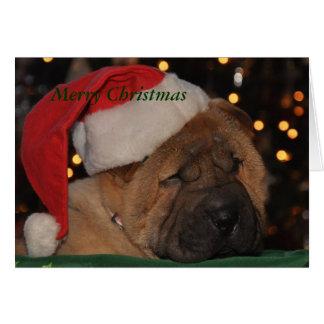 Tarjeta de Navidad soñolienta del perrito