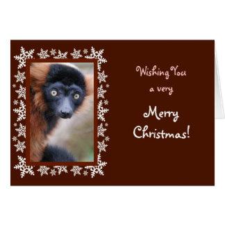 Tarjeta de Navidad superada rojo del Lemur