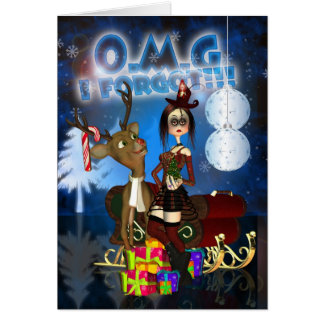 Tarjeta de Navidad tardía, gótica, reno H.I.P. Ra