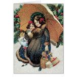 Tarjeta de Navidad - tarjeta adorable de la hija d