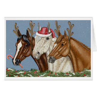 Tarjeta de Navidad tonta del trío del caballo