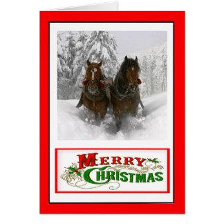 Tarjeta de Navidad traída por caballo del trineo
