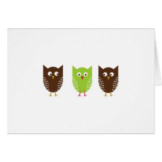 Tarjeta de Navidad tres de los búhos