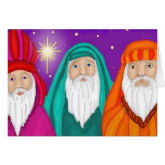 Tarjeta de Navidad tres de los hombres sabios de