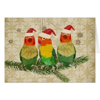 Tarjeta de Navidad tres de oro de los pájaros