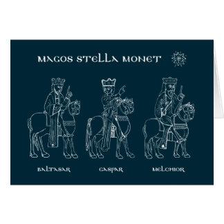 Tarjeta de Navidad tres de unos de los reyes magos