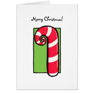 Tarjeta de Navidad verde blanca rizada del bastón