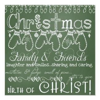 Tarjeta de Navidad verde de la foto de la pizarra Invitación 13,3 Cm X 13,3cm