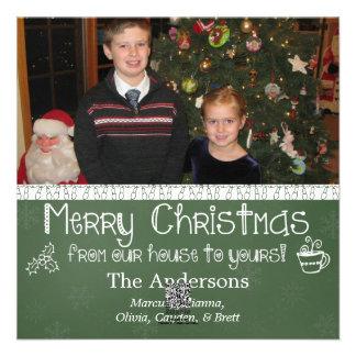 Tarjeta de Navidad verde de la foto de la pizarra Invitacion Personalizada