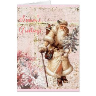 tarjeta de Navidad y Santa rosados