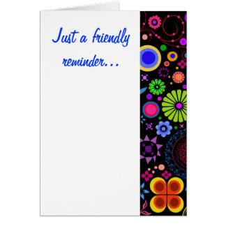 Tarjeta de nota amistosa del recordatorio