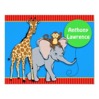 Tarjeta de nota animal de la DIVERSIÓN del circo Invitación 10,8 X 13,9 Cm