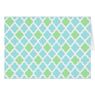 Tarjeta de nota azul clara y verde
