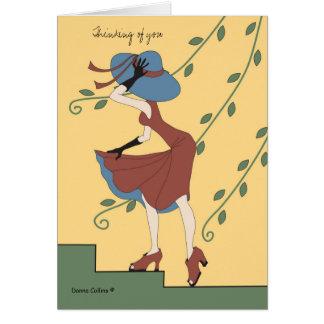 Tarjeta de nota azul del gorra