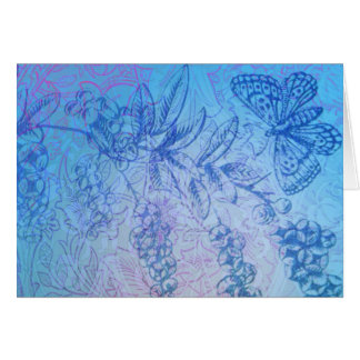Tarjeta de nota azul preciosa de la mariposa y de