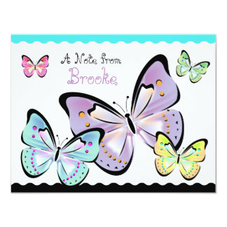 Tarjeta de nota brillante y hermosa de la mariposa invitación 10,8 x 13,9 cm