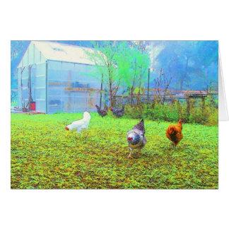 Tarjeta de nota brumosa del arte de los pollos de