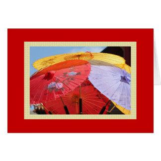 Tarjeta de nota china de los paraguas