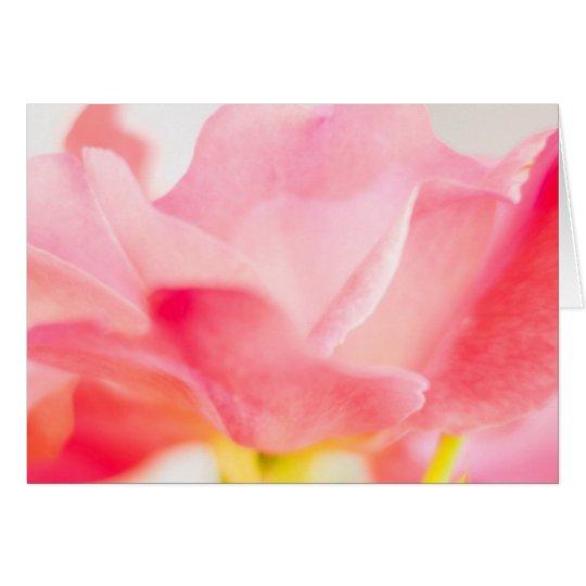 Tarjeta de nota color de rosa rosada del saludo de