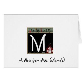 Tarjeta de nota con monograma de M para los profes