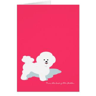 Tarjeta de nota de encargo de Bichon Frise en rosa
