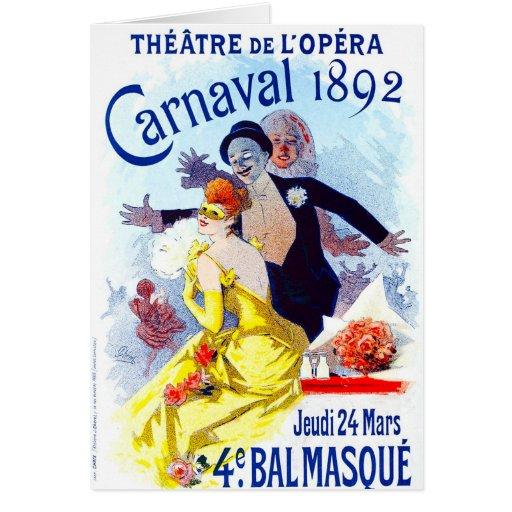 Tarjeta de nota de Julio Cheret Carnaval