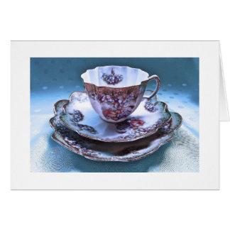 Tarjeta de nota de la fotografía de la taza de té