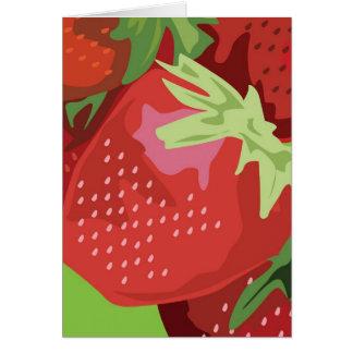 Tarjeta de nota de la fruta - fresas
