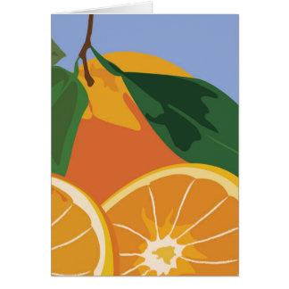 Tarjeta de nota de la fruta - naranjas