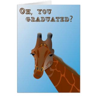 Tarjeta de nota de la graduación de la jirafa