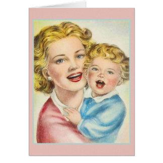 Tarjeta de nota de la madre y del bebé del vintage