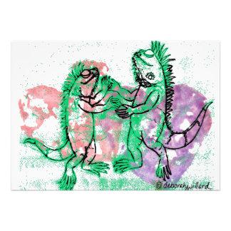 Tarjeta de nota de las iguanas del baile